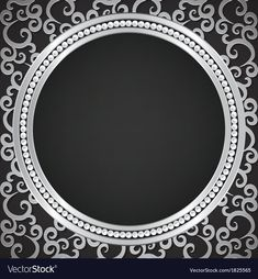 Silver pattern with swirls and pearl frame vector image on VectorStock Frame Background, Wedding Background, Flower Wallpaper, Pattern Wallpaper, Invitation Background, Led Mirror, Planner, Diy Frame, Islamic Art