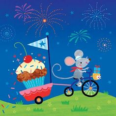 Mouse on Bicycle Pulling a Cupcake Trailer Art