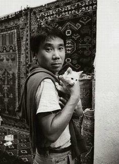 Haruki Murakami (and cat) - Japanese contemporary novelist and long distance runner