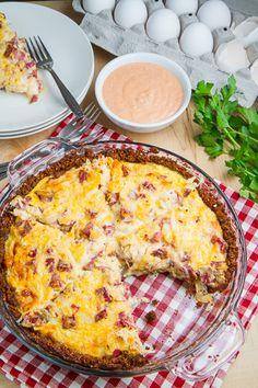 Reuben Quiche  A corned beef, sauerkraut, and swiss quiche inspired by the reuben sandwich with a rye breadcrumb crust.