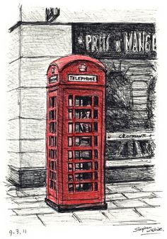 Telephone Box near the Royal Opera Arcade - drawings and paintings by Stephen Wiltshire MBE Royal Opera Arcade, London, Close to Admiralty Arc, between Haymarket and Regents Streets. Enter from Pall Mall. Stephen Wiltshire, London Phone Booth, Autistic Artist, London Drawing, Telephone Booth, Telephone Drawing, Amazing Drawings, Environmental Art, Urban Landscape
