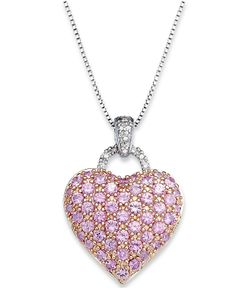 Sterling Silver Necklace, Pink Sapphire (2-1/4 ct. t..w) and Diamond Accent Heart Pendant - Necklaces - Jewelry & Watches - Macy's
