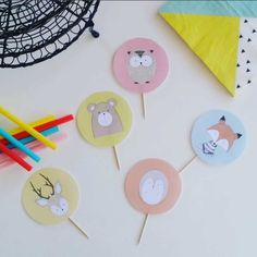 Woodland Animal Cupcake Toppers - Printable Party Decoration. Complete your little one's woodland animal theme with Woodland Animal Cupcake Toppers! The woodland theme is definitely our favourite birthday party theme right now! We are loving the NEW Woodland Animal Cupcake Toppers with animals fox, bear, owl, porcupine and deer. Have some DIY fun! Only $2 online at http://beauandbow.com.au