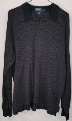 Polo Ralph Lauren Mens Grey 100%Pima Cotton Long Sleeve Polo Shirt XL Black Pony #PoloRalphLauren #PoloRugby