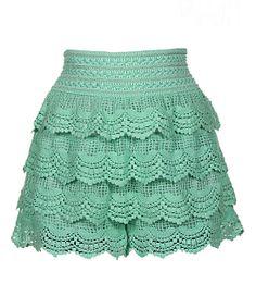 Mint Crocheted Tiered High-Waist Shorts