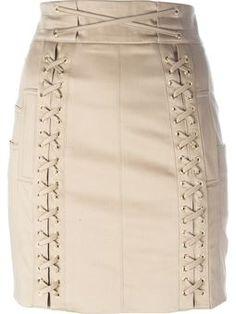 lace fastening detail mini skirt