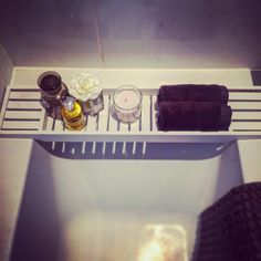 Bath caddy bath tray dunelms molten brown candle relaxing bathroom grey and white tiled minimal