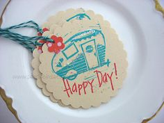 Vintage Travel Trailer LOVE Gift Tags Turquoise by pearliebird, $5.00