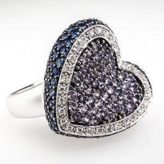 Diamond & Sapphire Heart Cocktail Ring, 14k white gold via EraGem.com (=)