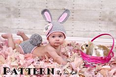 Easter Bunny Rabbit Hat & Diaper Cover Set Crochet PDF Pattern