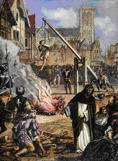 Persecution of French Huguenots, 1598  = These people were slaughtered in Lyon, France and their bodies dumped into the Rhone River for protesting against the Catholic Church.
