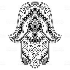 """Similar Images, Stock Photos & Vectors of Hamsa hand drawn symbol with lotus. Decorative pattern in oriental style for interior decoration and henna drawings. The ancient sign of """"Hand of Fatima"""". Maori Tattoo Arm, Hamsa Hand Tattoo, Maori Tattoo Designs, Hand Tattoos, Hamsa Drawing, Henna Drawings, Mandala Art, Tatouage Main Hamsa, Zentangle"""
