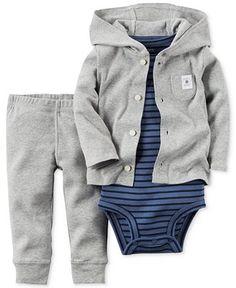 Carter's Baby Boys' 3-Piece Gray Cardigan, Bodysuit & Pants Set - Kids & Baby - Macy's
