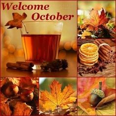 Welcome October Beautiful Collage, Color Me Beautiful, Hello October, November, New Month Wishes, Autumn Aesthetic, Autumn Cozy, Fall Wallpaper, Months In A Year