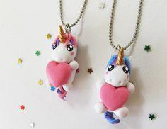 DIY: Como fazer Colar da Amizade Unicórnio Kawaii Biscuit - Unicorn Charms Tutorial - Porcelana fría - Cold Porcelain Heart #unicorn #diyunicornio #colardaamizade #bff #unicornio #biscuit #clay #diy #friendshipneckalace #tutorial