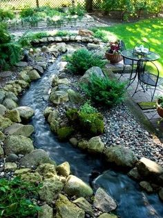 Beautiful water feature meanders through a garden