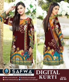Safwa Brand Digital Kurties Shirts ,Kameez , 2 Piece and 3 Piece Suits Dresses Online Shopping Pakistan Pakistani Fashion Casual, Kurti Collection, 3 Piece Suits, Online Dress Shopping, Pakistani Dresses, Textile Design, Dresses Online, Designer Dresses, Digital