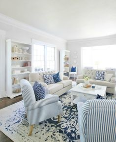 Home Decoration Design Life Lived in Blue and White - Thistlewood Farm.Home Decoration Design Life Lived in Blue and White - Thistlewood Farm Coastal Living Rooms, Living Room Interior, Home Living Room, Living Room Furniture, Living Room Designs, Coastal Cottage, Coastal Bedrooms, Beach Cottage Bedrooms, Dining Rooms