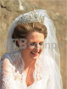 Aquamarine tiara of Louise Nicolson, a descendant of Queen Victoria via her grandmother, Lady Saltoun, seen here when she wore it at her wedding. An identical tiara has been made, possibly by Garrards for a member of the Malaysian royal family
