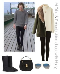 """At ""You & I"" music video shoot with Harry"" by thetrendpear-eleanor ❤ liked on Polyvore featuring Topshop, Uniqlo, Forever 21, UGG Australia, Chloé and Ray-Ban"