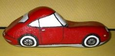ONE OF A KIND PAINTED ROCK ! SHINY RED CAR ! (02/02/2013)