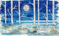 Layers of ink - Mixed Media Winter Scene by Anna-Karin, made for Simon Says Stamp Monday Challenge Blog. Stencil by Hero Arts and paint by Ranger/Dina Wakley.