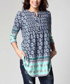 Blue Floral Notch Neck Pin Tuck Tunic - Plus