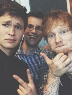 Ansel Elgort, John Green, and Ed Sheeran. I am SO EXCITED FOR THIS MOVIE AND ED'S INVOLVEMENT WITH IT.