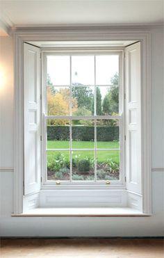 Twelve pane sliding sash window and shutters Cottage Shutters, Interior Shutters, Window Shutters, Wood Shutters, Bedroom Windows, Sash Windows, Arched Windows, Bedroom Shutters, Georgian Windows