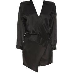 Oversized Wrap Mini Dress in Black ❤ liked on Polyvore featuring dresses, short dresses, vestidos, mini dress, short wrap dress, oversized dress and wrap dress