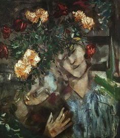 Lovers With Flowers by Marc Chagall