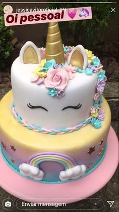 Creative Birthday Cakes, Birthday Cake Girls, Unicorn Birthday, Unicorn Party, Fondant Cakes, Cupcake Cakes, Decors Pate A Sucre, Disney Inspired Food, Unicorn Cakes