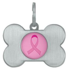 Super cute Breast Cancer pink ribbon pet tag.