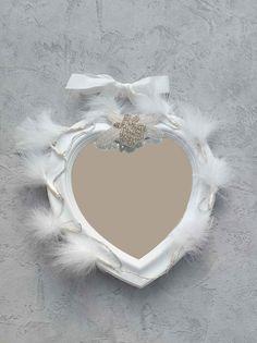 Miroir Coeur Shabby Plumes blanches Eclairant