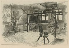 The Huguenots in England: A Spitalfields weaver at work; from The Graphic, 24 October 1885.