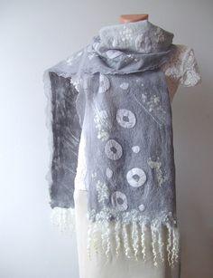 Nuno felted scarf grey with locks by GalaFilc, via Flickr