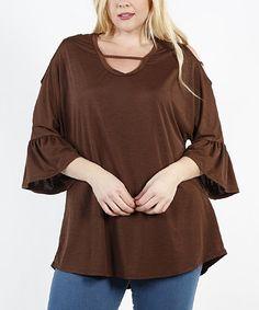 Brown Bell-Sleeve Cutout Tunic - Plus #zulily #zulilyfinds