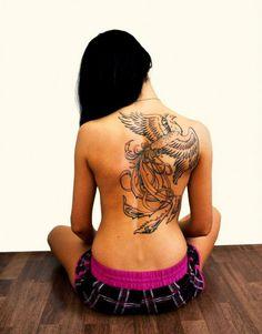 Phoenix bird tattoo--smaller version; same placement.