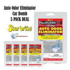 "Star Brite 19970 NosGuard SG Auto Odor Eliminator Smoke Pet & Foul Odor Control 5 Pack Deal. 5 Pack Deal ***SHIPS FROM FLORIDA***. Fast Release ""NosGuard SG Auto Odor Eliminator"" Formula begins working immediately to eliminate foul odors caused by mold, mildew, pets, food, smoke and more. Quick-release, deep penetrating vapor eliminates tough odors within 4-6 hours; doesn't just cover them up. Each patented CLO2 chlorine dioxide generator pouch treats one vehicle safely and quickly...."