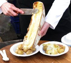 Raclette is both a type of cheese and a Swiss dish based on heating the cheese and scraping off the melted part
