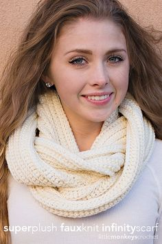 PDF PATTERN: Super Plush Faux-Knit Infinity Scarf Crochet Pattern - - - - - ***This is a crochet pattern, NOT a finished item!!*** I created this super soft scarf pattern after seeing the style (knit version) everywhere and falling in love with it. With the slightly higher-end