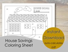 Home Savings Tracker – Down Payment Savings and Debt - Coloring Sheet Savings Chart, Savings Plan, House Down Payment, Debt Snowball Worksheet, Save For House, Savings Challenge, Budgeting Finances, Budgeting Tips, Debt Payoff