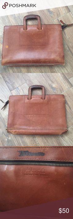 schlesinger brothers vintage briefcase Soft leather vintage briefcase made of California saddle leather. 17x11x3 schlesinger brothers Bags