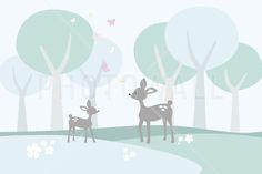 Deer in Woods - Fotobehang & Behang - Photowall
