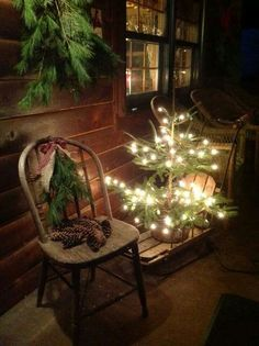 A Cabin Christmas Porch Christmas Porch, Merry Little Christmas, Primitive Christmas, Christmas Love, Country Christmas, Outdoor Christmas, Winter Christmas, Christmas Lights, Christmas Crafts