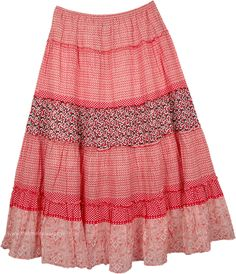 El Savador Tiered Maxi Skirt TLB (XL-Plus, Printed) Tiered Pull On Crinkle Cotton Long Skirt - This bohemian maxi skirt is just the thing to spice up your wardrobe! The mixed printed fabric adds a global-chic spin Hippie Outfits, Girly Outfits, Cute Outfits, Bohemian Maxi Skirt, Cotton Skirt, Cotton Fabric, Embroidery On Clothes, Skirt Patterns Sewing, Tiered Skirts