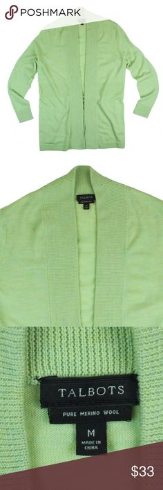 """New TALBOTS Lime Melange Merino Cardigan Sweater NWOT. This new lime green melange cardigan sweater from TALBOTS features an open front style. Made of 100% merino wool. Measures: Bust: 39"""", total length: 30"""", sleeves: 24"""" Talbots Sweaters Cardigans"""