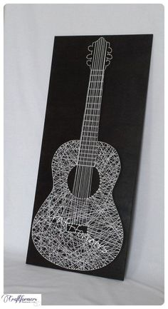 Music Guitar String Art, Musical Instrument, Music Gift, Black & White Wooden…