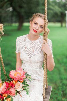 Scallop-inspired wedding dress: http://www.stylemepretty.com/little-black-book-blog/2016/04/21/white-dress-red-lip-bright-blooms-weve-got-it-all/   Photography: Jess Barfield - http://www.jessbarfield.com/
