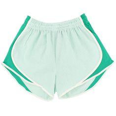 Shorties Shorts in Mint Green Seersucker by Lauren James ($45) ❤ liked on Polyvore